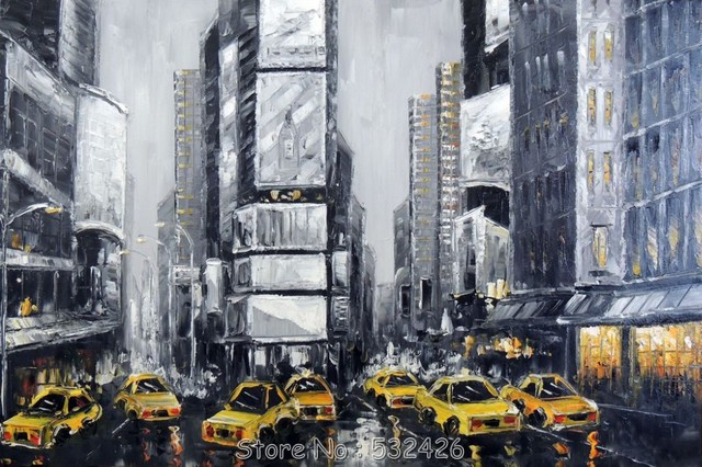63dedd637f6 Times Square Black   White New York City Manhattan Handpainted Oil Painting  on Canvas Wall Art Home Decoration Free Shipping