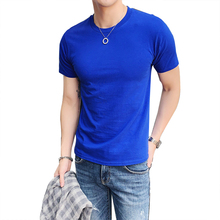 Men's Short Sleeve T-Shirt Round Neck Half Sleeve Trend Solid Color Black Tight Half Sleeve Cotton Summer Clothes Bottoming Shir chic round neck half sleeve pure color fringed t shirt for women