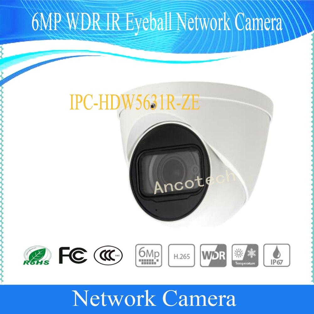 Free Shipping DAHUA IP Camera CCTV 6MP WDR IR Eyeball Network Camera with POE IP67 Without Logo IPC-HDW5631R-ZE free shipping dahua ip camera cctv 8mp wdr ir bullet network camera with poe ip67 ik10 without logo ipc hfw5831e ze