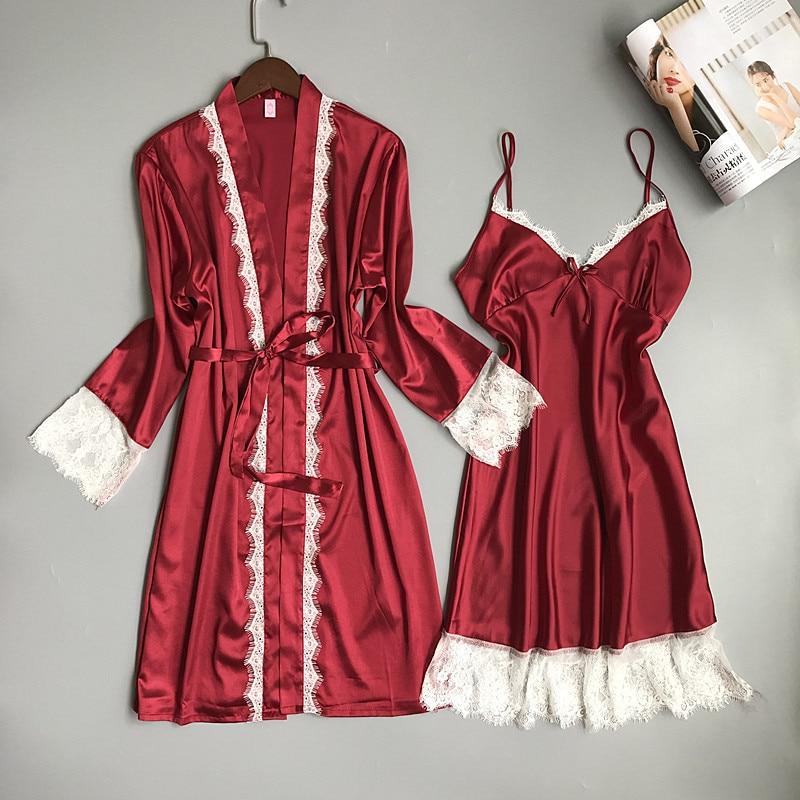 New Long Twinset Kimono Robe Set Chinese Style Bride Wedding Robe Sexy Lace Sleepwear Rayon Nightgown Female Soft Home Dress