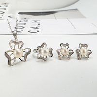 Freshwater Pearl Jewelry Set S925 Sterling Silver Ring Earring Pendant Oyster Pearl Jewelry Mountings Accessory Wholesale 5pcs