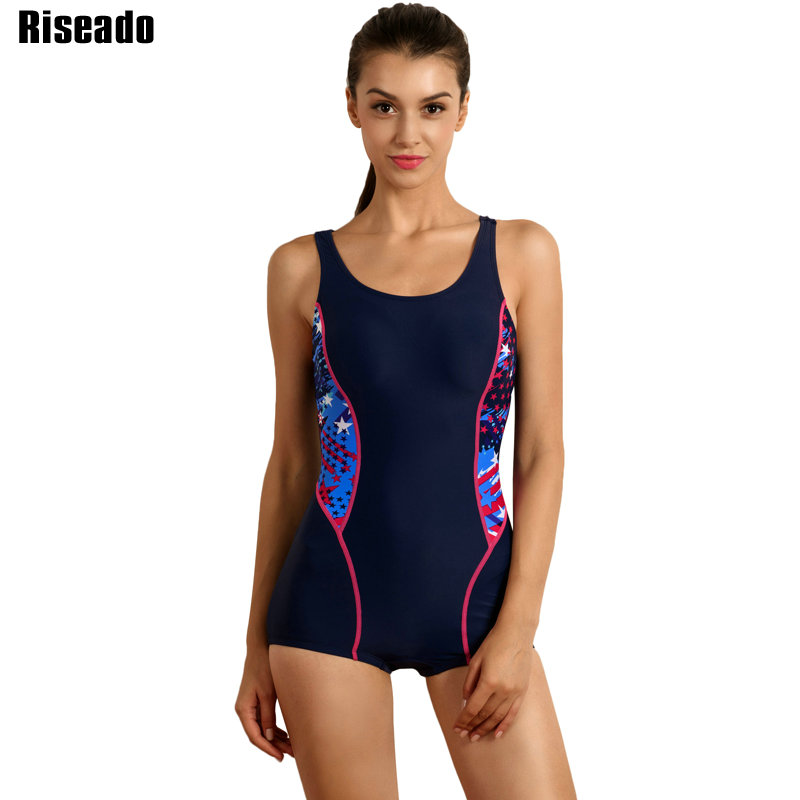 a2a5ffa7650 Riseado 2019 One Piece Swimsuit Patchwork Sport Swimming Suit for Women  Racer Back Training Boyshort Bathing Suits