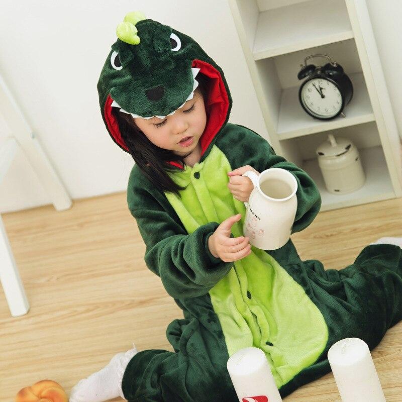 Children Winter Sleepwear Dinosaur Cartoon One Piece Pajama Set Kids Best Christmas Gift