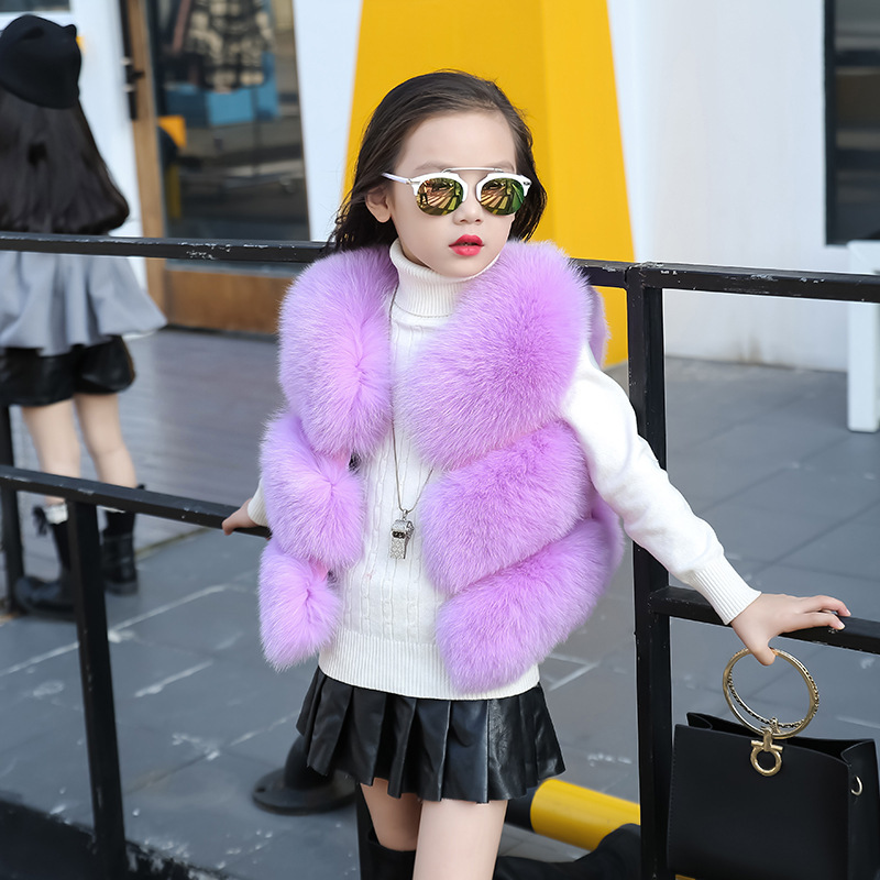 New winter children imitate the fox fur waistcoat hair girl child in han edition tide vest waistcoat brief paragraph maomao 2017 winter new clothes to overcome the coat of women in the long reed rabbit hair fur fur coat fox raccoon fur collar