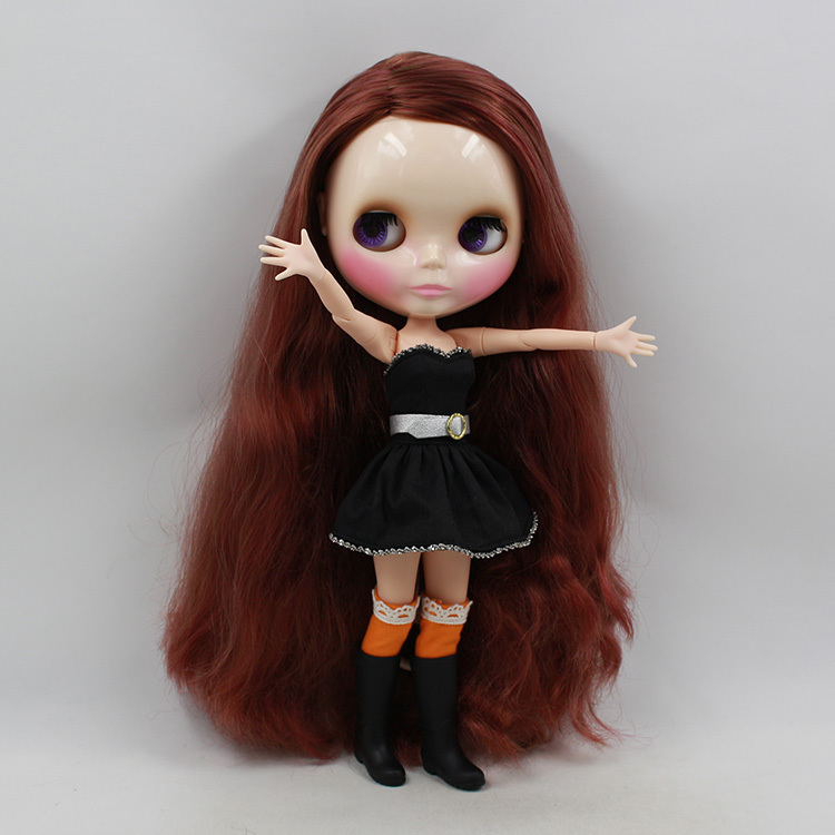 ICY free shipping nude blyth doll bjd neo 280BL91581253 JOINT body Red mix Brown hair side parting shinning face gift toy adiors long middle parting shaggy wavy color mix synthetic party wig