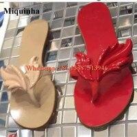Summer Hot Selling Women Leafs Design Clip Toe Flat Sandals Red Gold Silver Blue Flat Flip