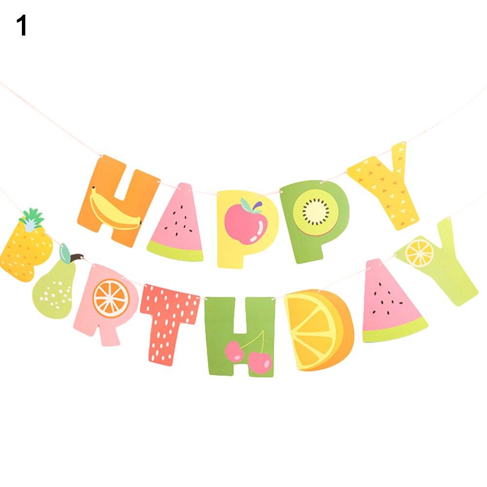 Summer Theme Fruit Cactus Ice Cream Print Happy Birthday Party
