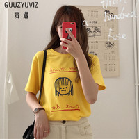 GUUZYUVIZ 2018 Zomer Koreaanse Vrouwen T-shirt Korte Mouw Zoete Meisje Cartoon T-Shirt Vrouwen Casual Losse Chic Camisetas Mujer