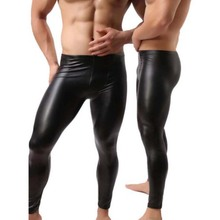 Mens Black Faux Leather Pants Long Trousers Fashion 2017 Sexy Novelty Skinny Muscle Tights Mens Leggings