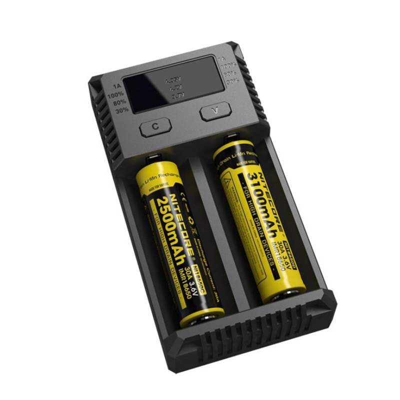Nitecore newi2 digicharger lcd inteligente circuito li-ion para 16340 14500 18650 18750 26650 carregador de bateria 3.7 v carregador