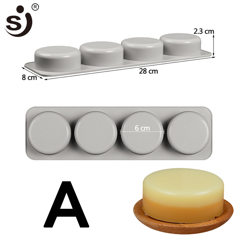 SJ 2PCS 4 Cavity 3D  Silicone Soap Molds Rectangle Round Oval Soap Molds  For Soap Making Form Silicon Food Grade Silicone Mould