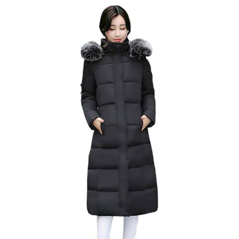 Women Winter Long Hooded Cotton Coat Faux Fur Collar Jackets Plus Size Outerwear Wadded Thick Casual Parkas Cotton Coats PW1015 women long plus size jackets padded cotton coats winter hooded warm wadded female parkas fur collar outerwear