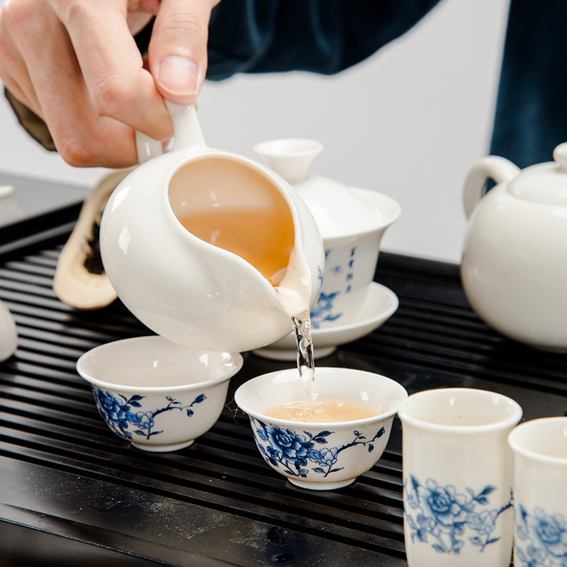 Azul e branco da porcelana jogo de chá poli bandeja de madeira de chá Kung Fu Sen oferta especial pequena orquídea atacado produtos personalizados - 5