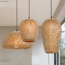 JW_Southeast Asia LED Handing Made Pendant Lamps Bamboo Pendant Lights for Living Room Restaurant Bedroom Home Lighting Fixtures(China)