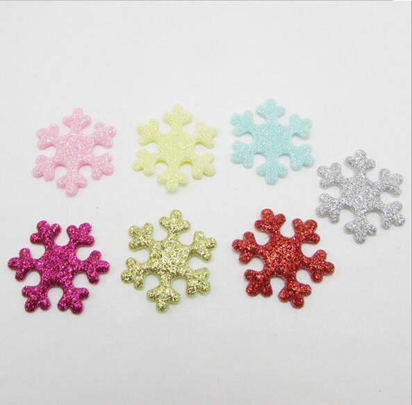 2.2cm 100pcs Glitters Snow Flower Padded Appliqued Patches Stick-on Cloth/hat/shoe/bag/jewelry Decoration
