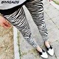 2016 summer del resorte polainas de las nuevas mujeres de la cebra-raya imprimir legins flaca fina leggings negro leche leggings delgados nueve pantalones de las mujeres