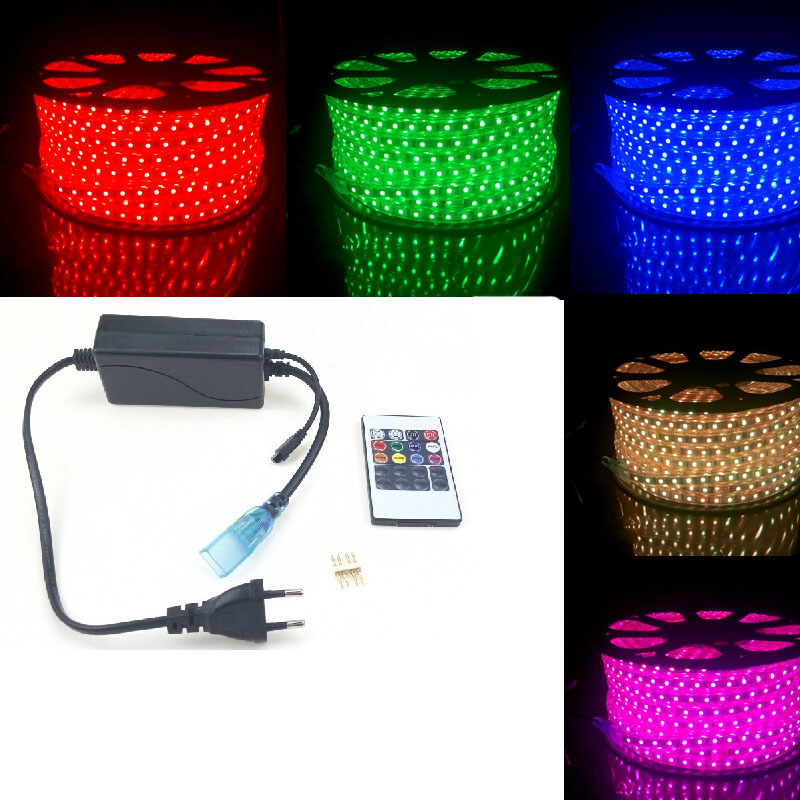 LED RGB Strip Light Waterproof 220V 240V 5050 SMD 60leds/m Ribbon + 20 Key Remote Controller 50m 40m 5m 20m Flexible Band Rope