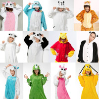 NEW Adult Pajamas Cosplay Cartoon Animal Onesie Sleepwear Cat Tiger Winnie Bear Panda Dog Unicorn Free