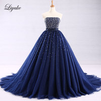 Liyuke Charming Tulle Floor Length A Line Sexy Quinceanera Dresses Royal Blue Lace Up Off The