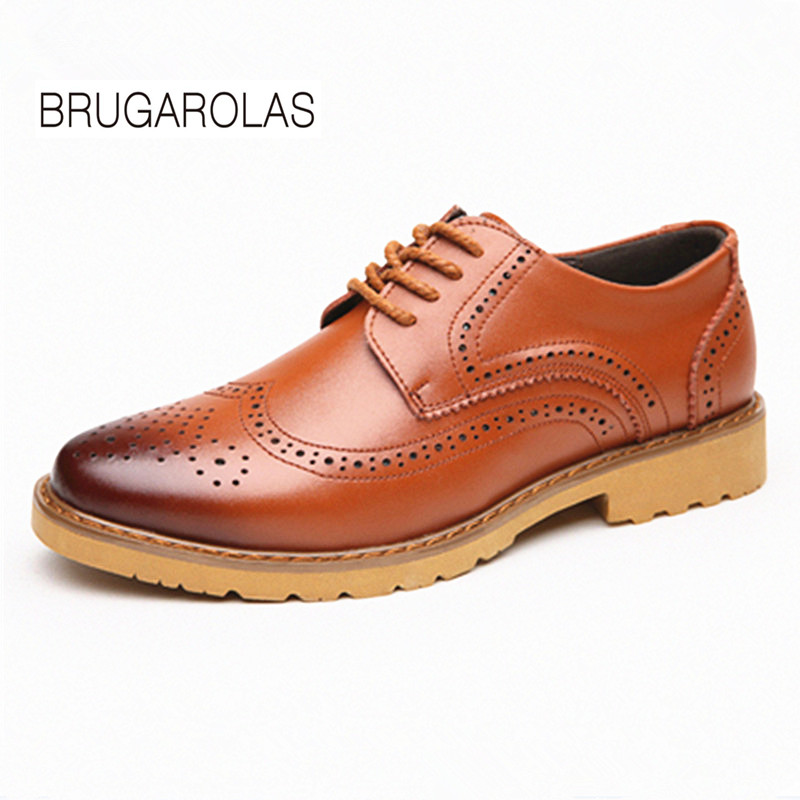 BRUGAROLAS - men's genuine leather brogue shoes Wedding Dress Business male shoes men black brown flats British Lace-up big size good quality men genuine leather shoes lace up men s oxfords flats wedding black brown formal shoes