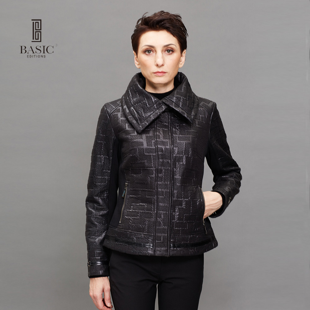 BASIC EDITIONS Spring Autumn Womens Fashion Long Sleeve Turn-down Collar Zip Jacket Women Black Casual Slim Coat - Z14058
