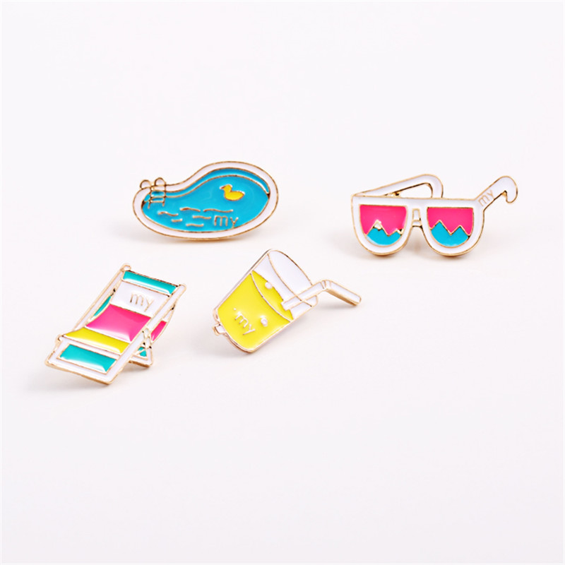 Jewelry Sets & More Jewelry & Accessories Xq 2016free Shipping Fashionable Woman New Winter Drop Glaze Enamel Beach Chairs Beverage Glasses Swimming Pool Brooch