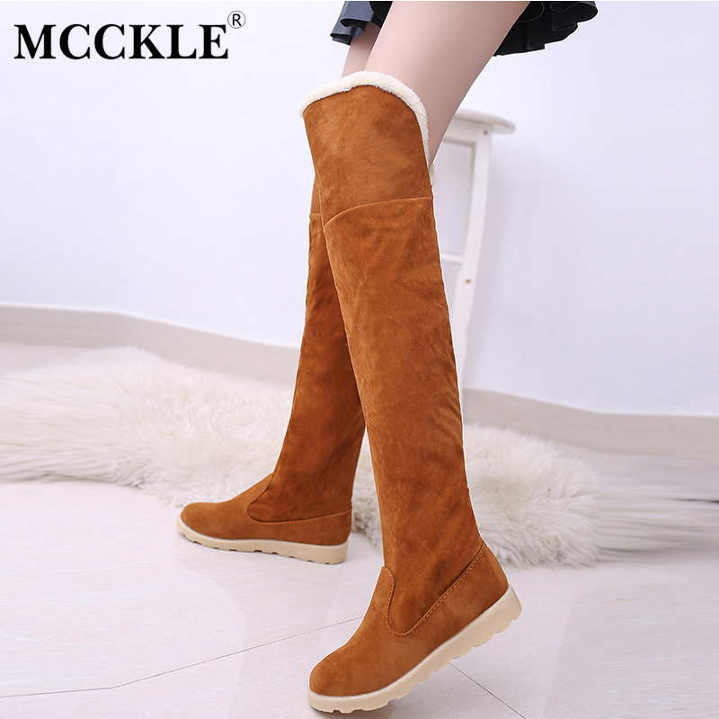 MCCKLE 2017 Female Winter Flat Warm Plush Platform Over The Knee Botas Ladies Fur Suede Style Thigh High Snow Boots Shoes thigh high over the knee snow boots womens winter warm fur shoes women solid color casual waterproof non slip plush wedges botas