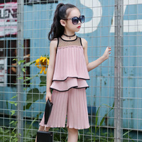 chiffon 10 12 7 year children clothing set big girls clothes suit summer outfits vest ruffles tops pants girl sets 2018 new