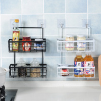 Wall mounted Wrought Iron Double layer Baskets Kitchen Storage Racks Bathroom Wall mounted Toiletries Storage