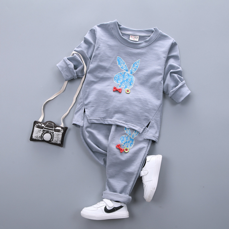 hot sale 2018 new baby girl clothes baby girls two pieces set cotton cartoon girls full sleeved+ pants childrens suit