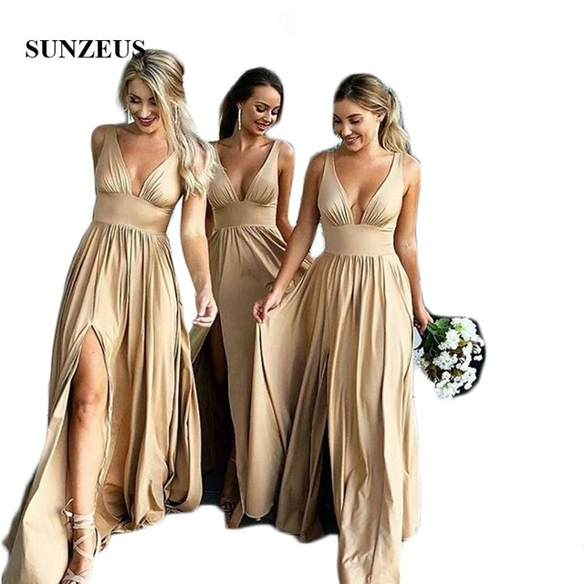 Sexy Deep V Neck Champagne Bridesmaid Dresses Long A-Line Tank Leg Slit Wedding Guest Party Dresses vestidos madrinha SBD49