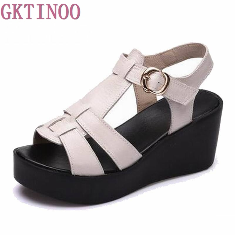 Women Sandals Genuine Leather Platform Thick Heel Summer Shoes Open Toe Sandals Platform Wedges Women's Shoes Plus Size 34-40 цена 2017