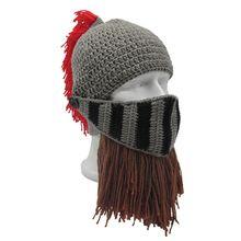 21ba4784a2ef8 Unisex Roman Helmet Barbarian Knight Knit Beard Hat Handmade Winter Warm  Ski Face Mask Funny Beanie