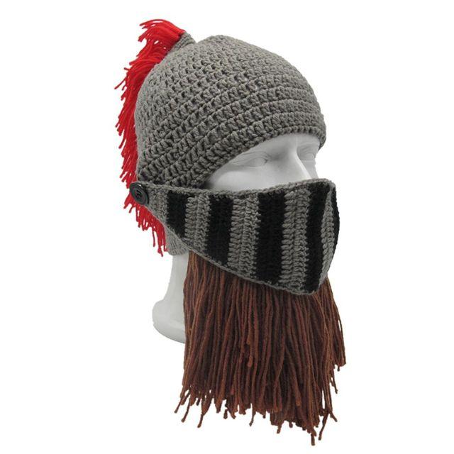 01274e1ff9a 1PC Men s Roman Helmet Red Tassel Barbarian Knight Knitted Beard Hat  Handmade Face Mask Funny Beanies