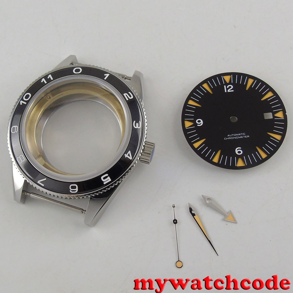 41mm no logo blac dial + hand + Watch Case set fit ETA 2824 2836 miyota MOVEMENT|movement eta|hand set|hand logo - title=