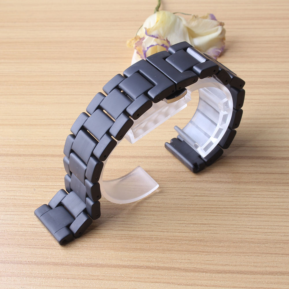 20mm 22mm Polished Matte Ceramic Watchband for Samsung Gear S2 gear S3 s4 REPLACEMENT new straps fashion style solid links black for samsung gear s2 classic black white ceramic bracelet quality watchband 20mm butterfly clasp