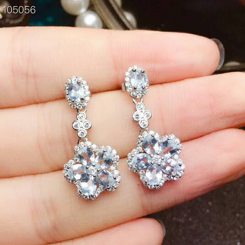 MeiBaPJ Natural Clean Aquamarine Gemstone Simple Flower Drop Earrings for Women Real 925 Sterling Silver