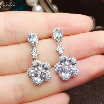 [MeiBaPJ Natural Clean Aquamarine Gemstone Simple Flower Drop Earrings for Women Real 925 Sterling Silver Charm Fine Jewelry