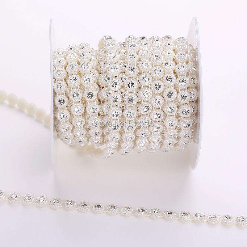 8mm Pearl lanac plastična čaša s čistim kristalnim biserima lanac - Umjetnost, obrt i šivanje - Foto 2
