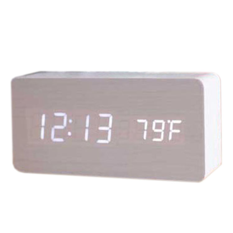 Voice Control Calendar Thermometer Rectangle Wood Wooden LED Digital Alarm Clock USB/AAA White Wood White LED