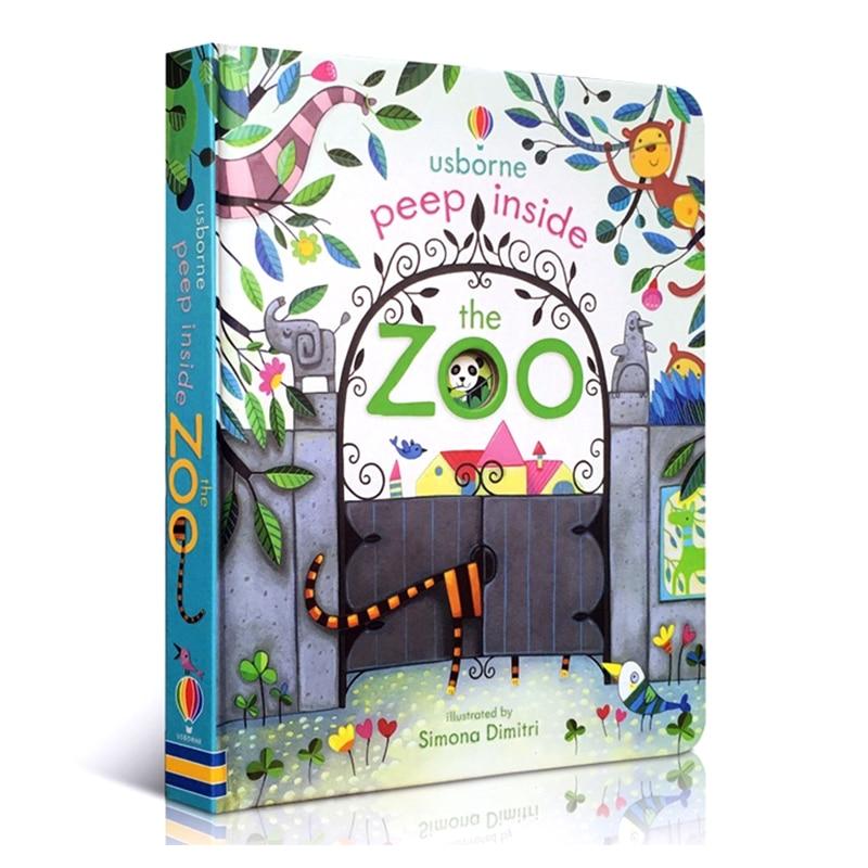 Peep dentro do zoológico animal inglês educacional 3d aleta imagem livros bebê crianças livro de leitura