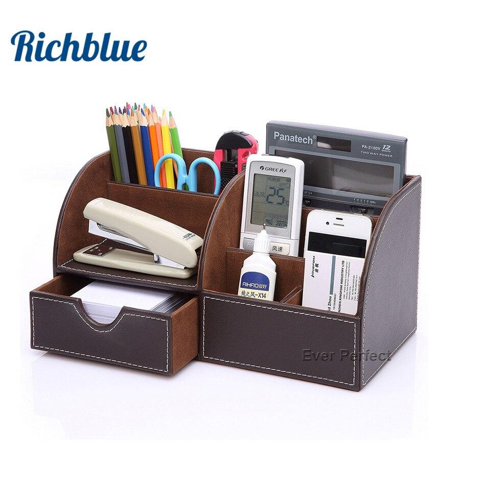 La mitad de cuero pu organizador de escritorio lápiz titular caja de ...