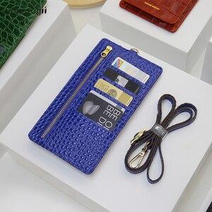 Image 3 - Horologi moda funda billetera telefónica teléfonos móviles ranuras para tarjetas de crédito con cordón de cuero de vaca con patrón de cocodrilo nombre personalizado