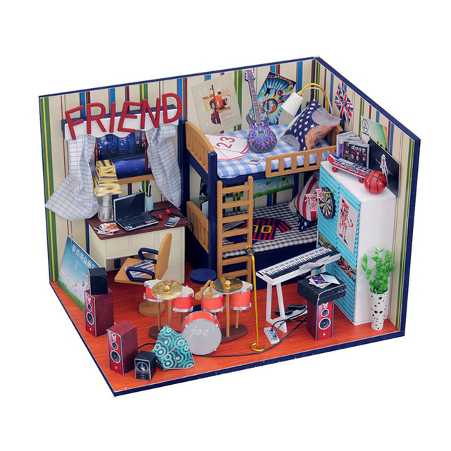 Ручной работы Кукольный Дом Мебель Миниатюрный Кукольный Домик Миниатюре Diy Кукольные Домики Деревянные Игрушки Для Детей Взрослые День Рождения Подарок M09