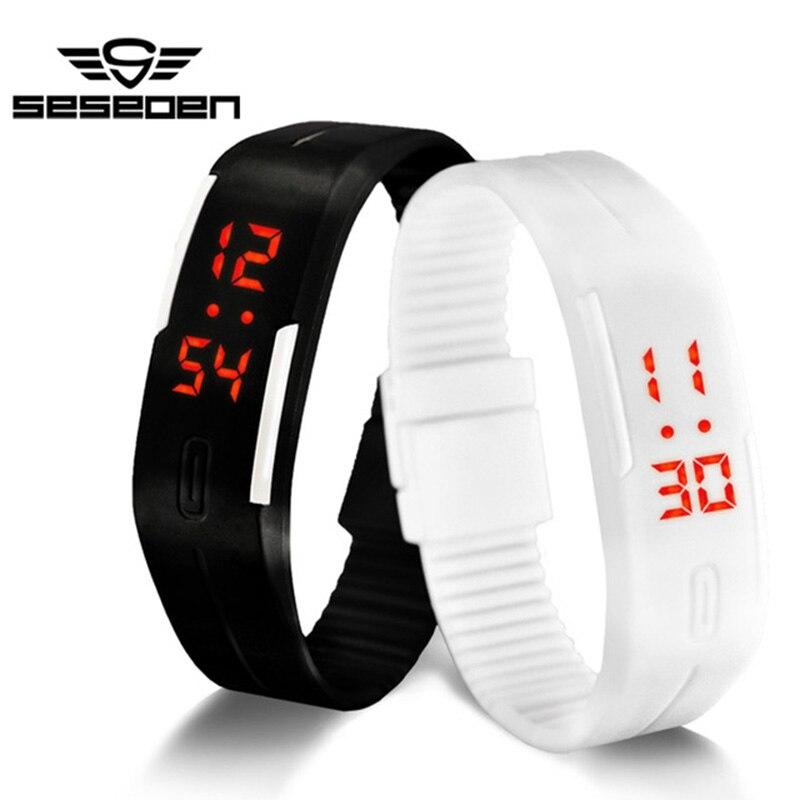 Спортивные Для женщин часы Для мужчин Обувь для девочек простой Дизайн LED Винтажные часы дамы Наручные часы конфеты желе Цвет Силиконовые …