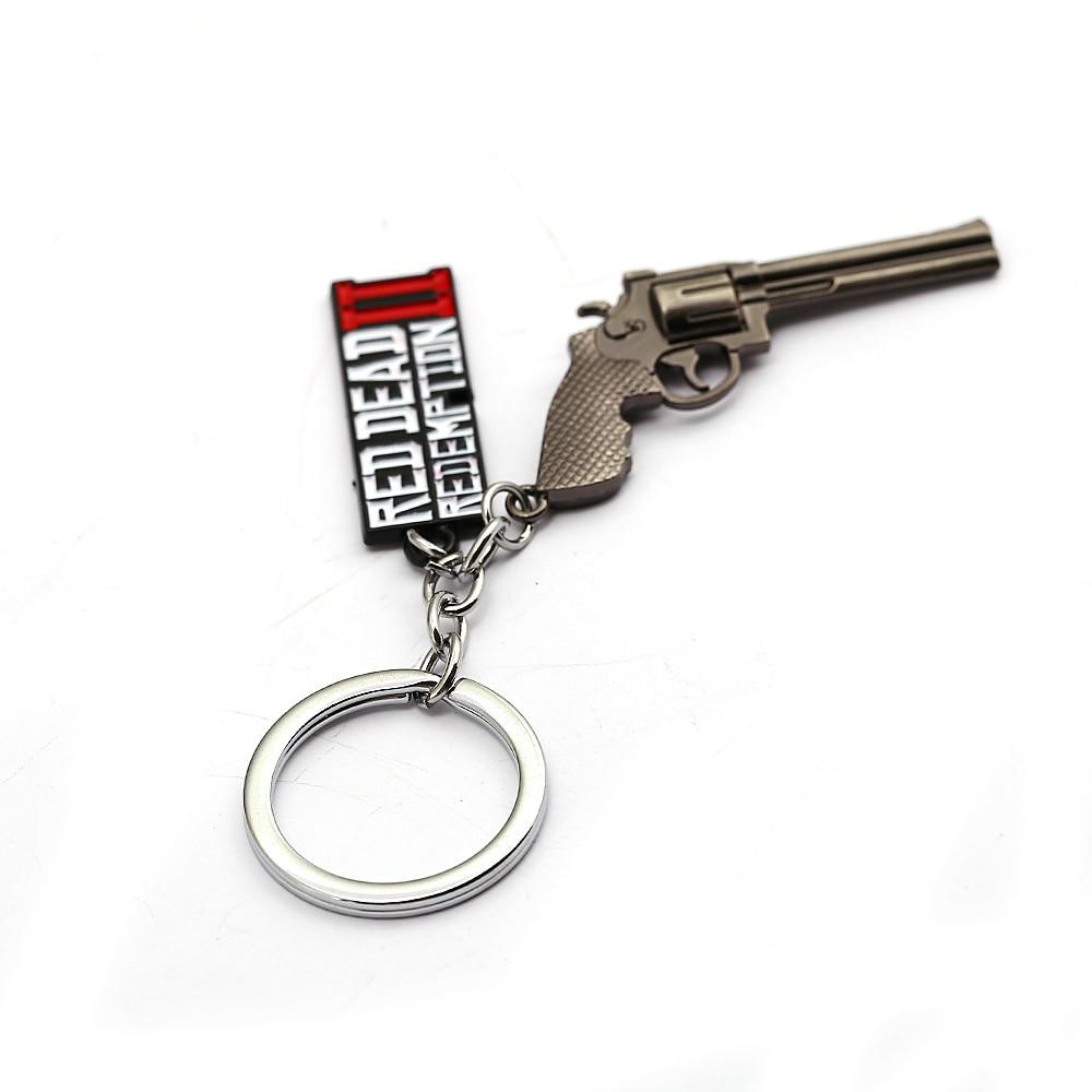 Game Red Dead Redemption 2 Keychain Keyrings Gun Toy Chaveiro Bag Souvenir llaveros