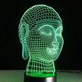 Buda Lampe Creativa Visual 3D LED Luz de Noche Que Cambia de Color Lámpara de Mesa de acrílico Grabado Budismo accesorio batería Lampy