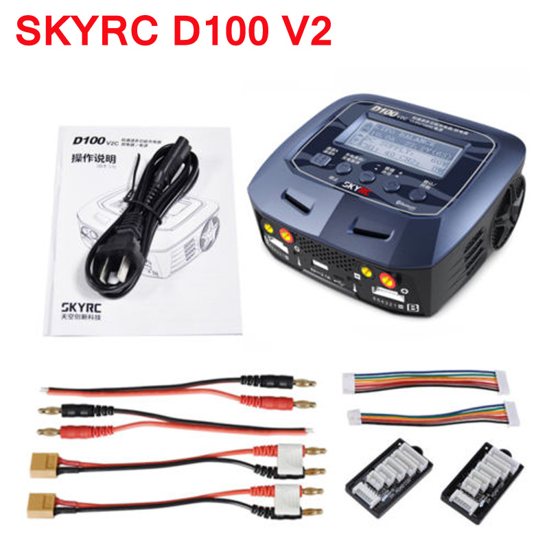SKYRC D100 V2 charger dual output intelligent balance charger chinese version for LiFe LiIon LiHV NiMH NiCd LiPo Battery original ev peak d1 yuneec typhoon q500 charger intelligent balance battery charger free shipping