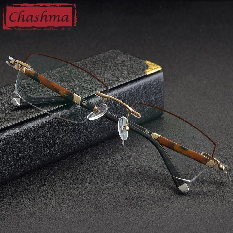 Montures en or pour hommes oculos de grau masculino armacao sans monture myopie lunettes de Prescription montures de lunettes