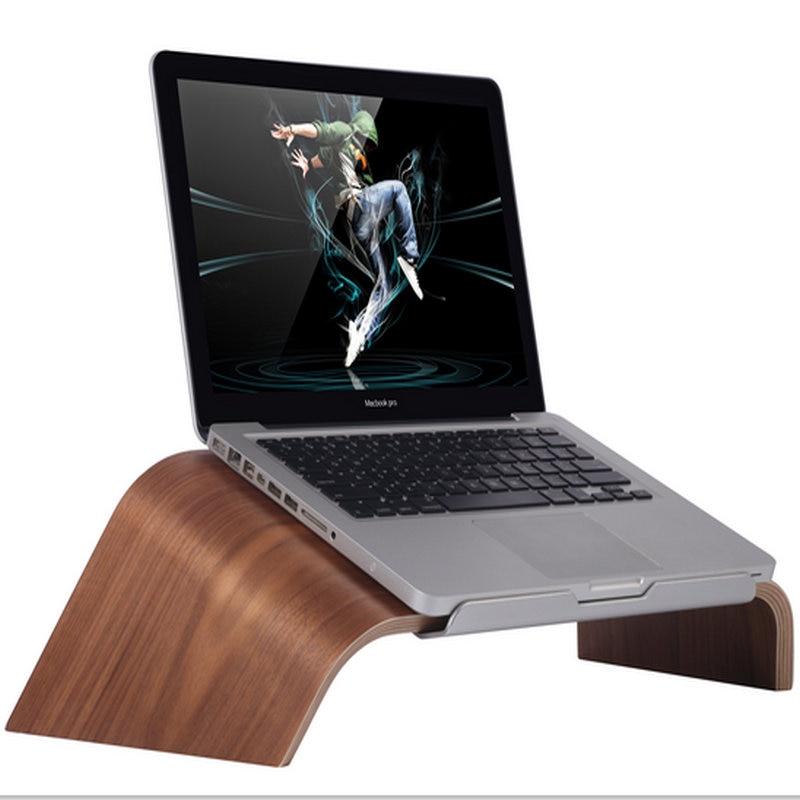 SAMDI 2016 Tilt Real Bamboo Stand Dock Holder Bracket for iMac Holder for Apple Desktop PC Monitor for macbook air 13 pro 13 15